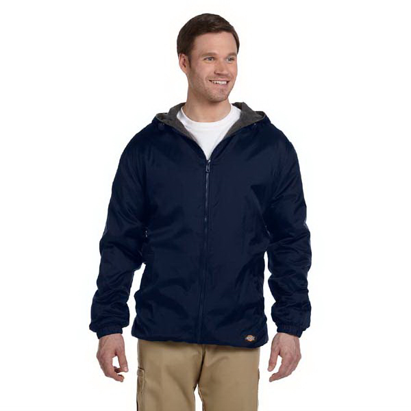 Imprinted Fleece Lined Hooded Nylon Jacket