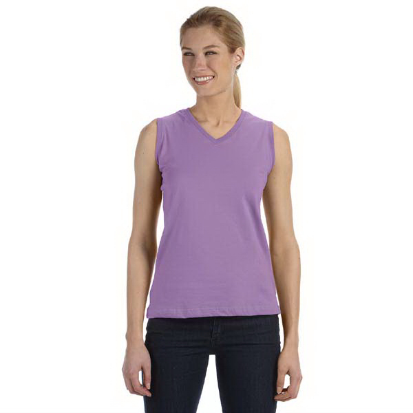 Custom Ladies' Combed Ringspun V-Neck Sleeveless t-shirt