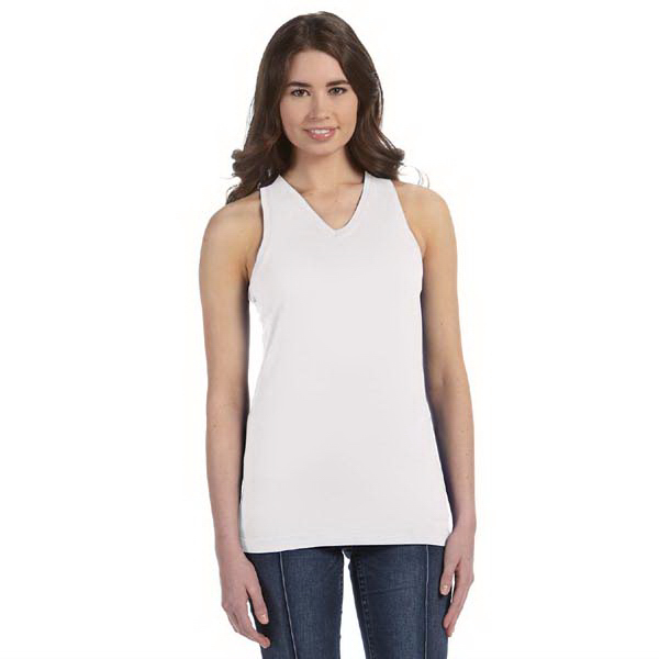 Imprinted LAT Juniors' Fine Jersey V-Neck Longer Length Racerback Tank