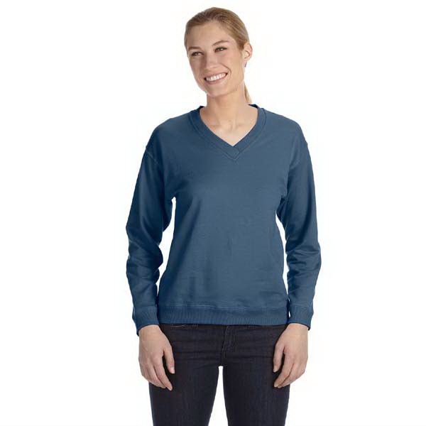 Customized Ladies' French Terry V-neck Pullover
