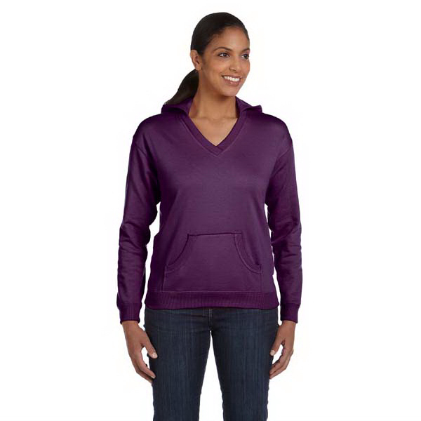 Imprinted Ladies' French Terry V-neck Hooded Pullover