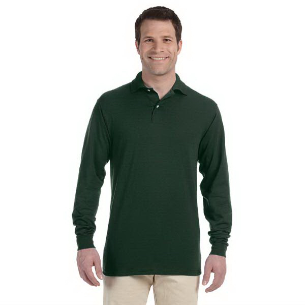 Customized 5.6 oz. 50/50 Long Sleeve Jersey Polo with SpotShield (TM)