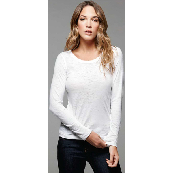 Printed Bella & Canvas Ladies' Burnout Long-Sleeve T-Shirt