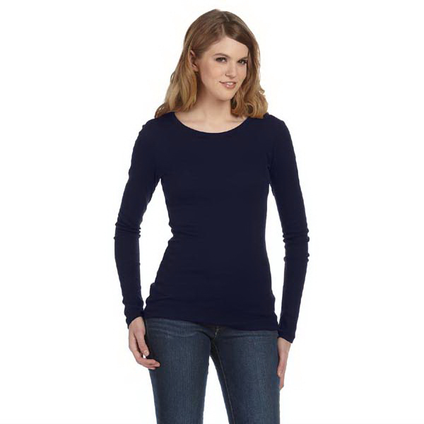 Customized Bella & Canvas Ladies' Sheer Mini Rib Long-Sleeve T-Shirt