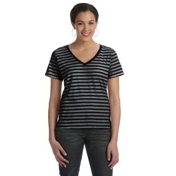Promotional Anvil Ladies' Sheer Striped V-Neck T-Shirt