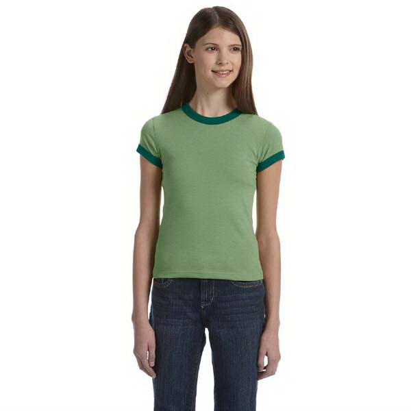 Printed Bella & Canvas Girls' Jersey Short Sleeve Ringer T-Shirt