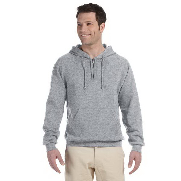 Printed 8 oz NuBlend (R) 50/50 fleece quarter zip pullover hood