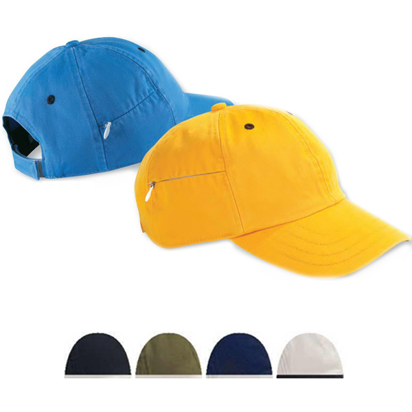 Imprinted Six Panel Baseball Cap with Zippered Pocket
