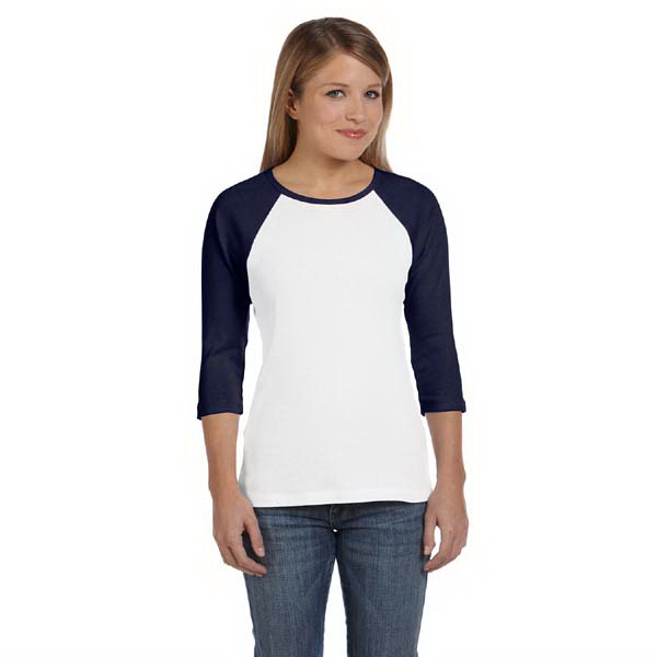 Personalized Ladies' Baby Rib 3/4 Sleeve Contrast Raglan T-Shirt