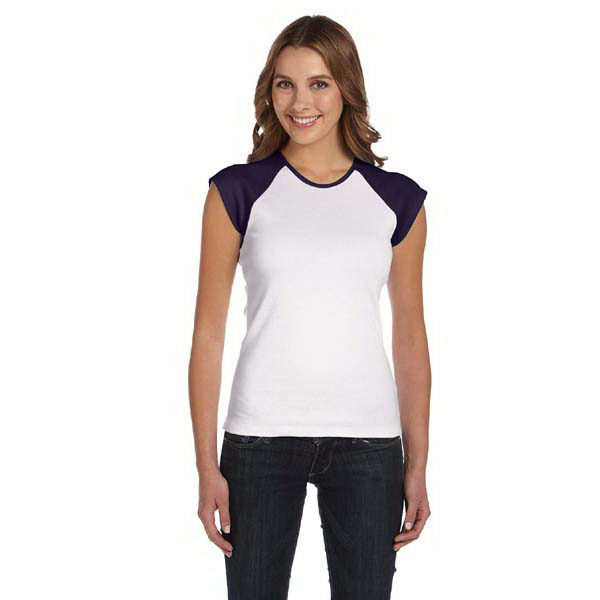 Personalized Ladies' Baby Rib Cap-Sleeve Contrast Raglan T-Shirt