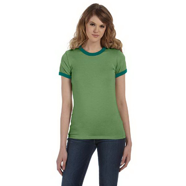 Printed Ladies' Heather Jersey Short-Sleeve Ringer T-Shirt