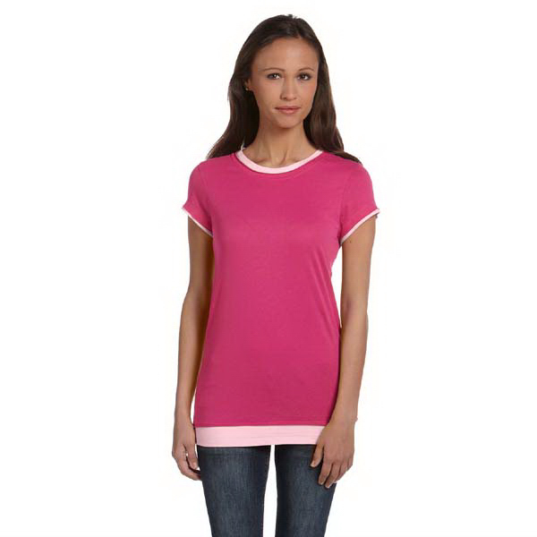 Customized Ladies' Sheer Jersey Short Sleeve 2-in-1 T-Shirt