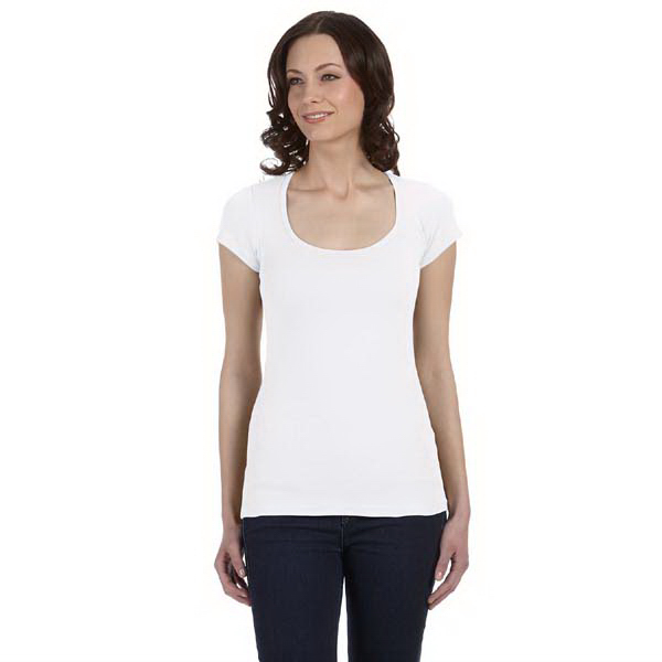 Imprinted Ladies' Sheer Mini Rib Short-Sleeve Scoop Neck T-Shirt