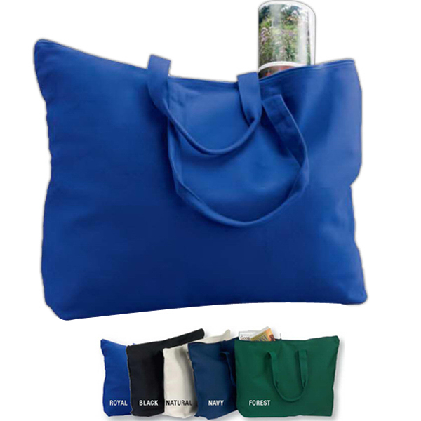 Promotional Canvas Zippered Book Tote Bag