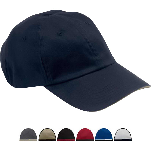 Imprinted 6-Panel Unstructured Cap with Sandwich Bill