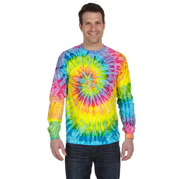 Printed 5.2 oz 100% cotton long-sleeve tie-dyed t-shirt