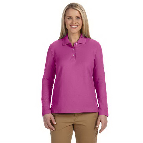 Custom Devon & Jones Ladies' Pima Pique Long-Sleeve Polo