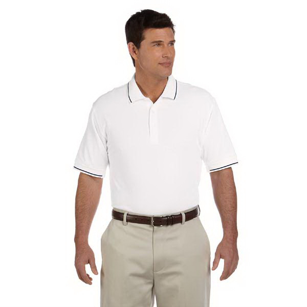Customized Devon & Jones Men's Pima Pique Short-Sleeve Tipped Polo