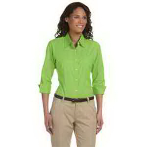 Personalized Ladies' three-quarter sleeve stretch poplin blouse
