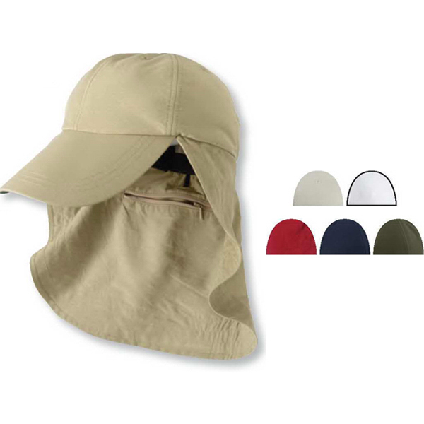 Printed Six Panel Cap with Elongated Bill and Neck Cape