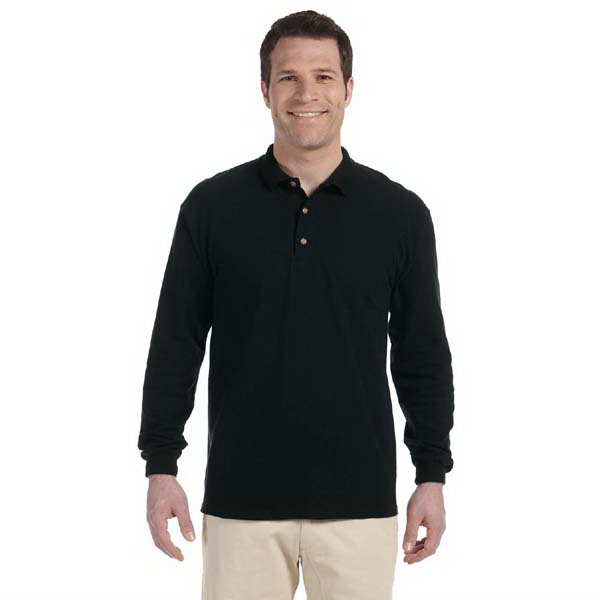 Imprinted 6.5 oz. Ultra Cotton (R) Ringspun Pique Long Sleeve Polo