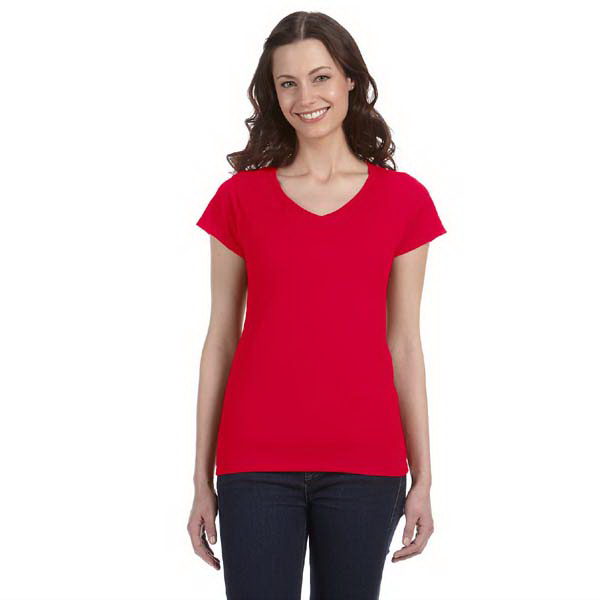 Custom Gildan Ladies' 4.5 oz SoftStyle Junior Fit V-Neck T-Shirt