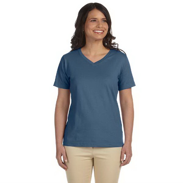 Customized LAT Ladies' Combed Ringspun Jersey V-Neck T-Shirt