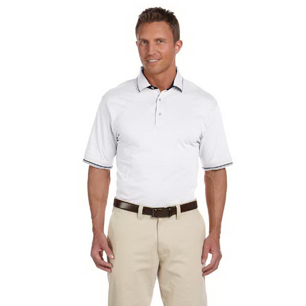 Printed Men's Cotton Jersey Short Sleeve Polo with Tipping