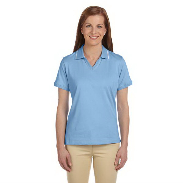 Imprinted Ladies' 5.9 oz Cotton Jersey Short-Sleeve Polo with Tipping