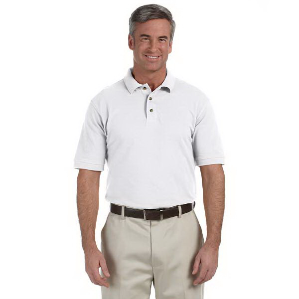 Printed Harriton Men's 6 oz. Ringspun Cotton Pique Short Sleeve Polo