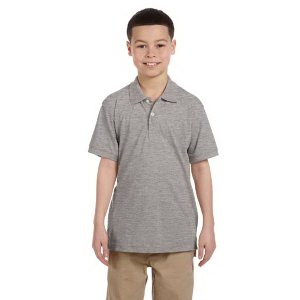 Printed Harriton Youth 5.6 oz Easy Blend Polo