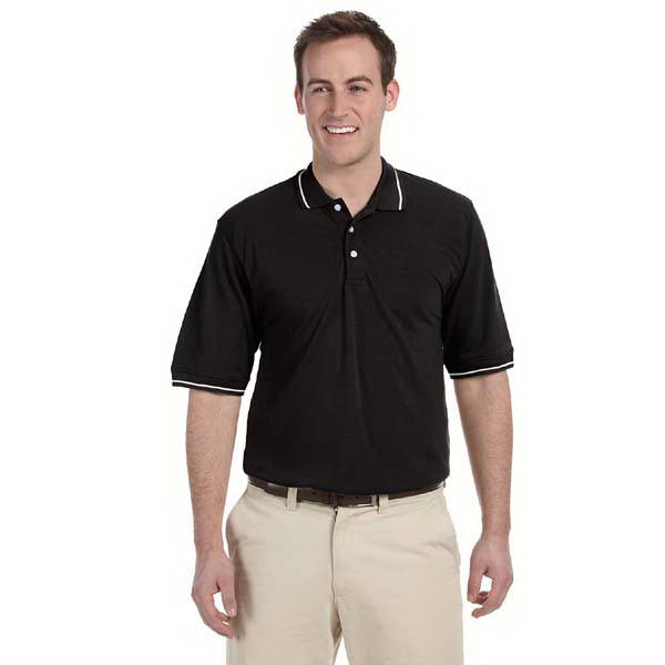 Personalized Harriton 5.6 oz Tipped Easy Blend Polo