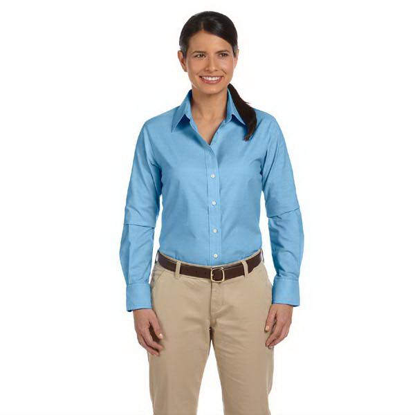 Imprinted Ladies' Long Sleeve Oxford with Stain Release