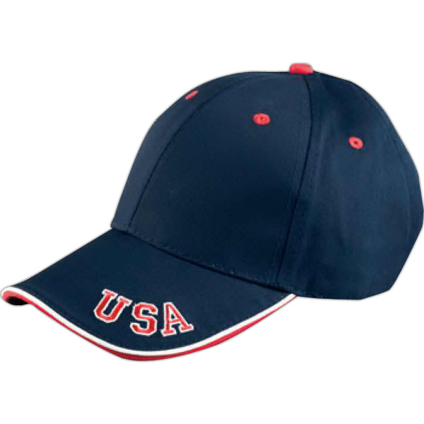 Promotional 6 Panel Mid-Profile cap with USA embroidery