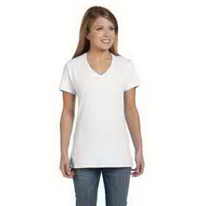 Customized Ladies' 100% Ringspun Cotton Nano-T (R) V-Neck T-Shirt