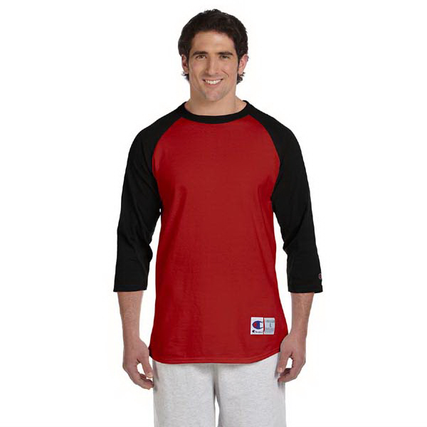 Printed Champion 6.1 oz Tagless Raglan Baseball T-Shirt