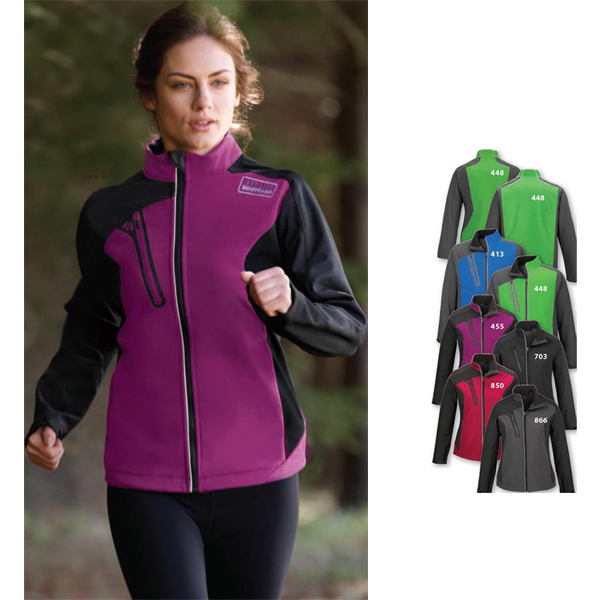 Personalized Ladies' Color-Block Soft Shell Jacket with Embossed Print