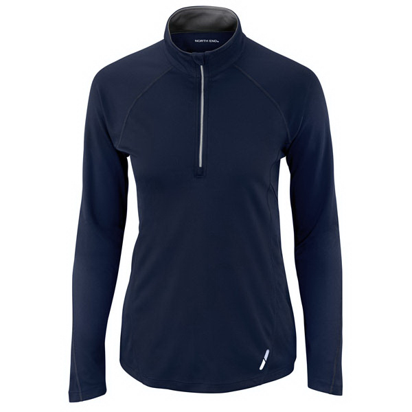 Imprinted Ladies' North End (R) Half-Zip Performance Long Sleeve Top