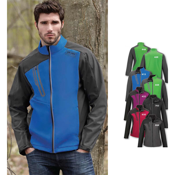 Customized Men's Color-Block Soft Shell Jacket with Embossed Print