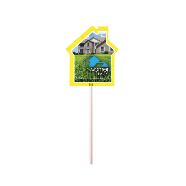 Customized Yellow House Fun Size Price Buster Lollipop