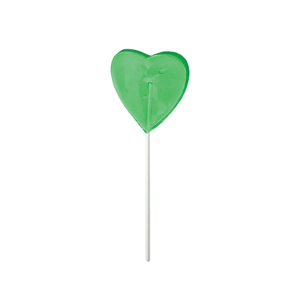 Customized Green Heart Fun Size Price Buster Lollipop
