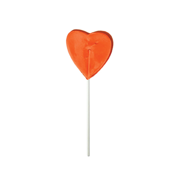 Imprinted Orange Heart Fun Size Price Buster Lollipop