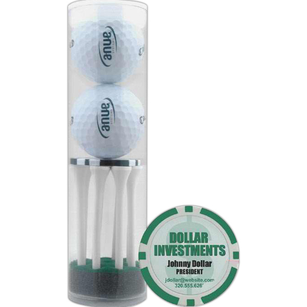 Promotional 2 Ball Tube with Poker Chip Ball Marker