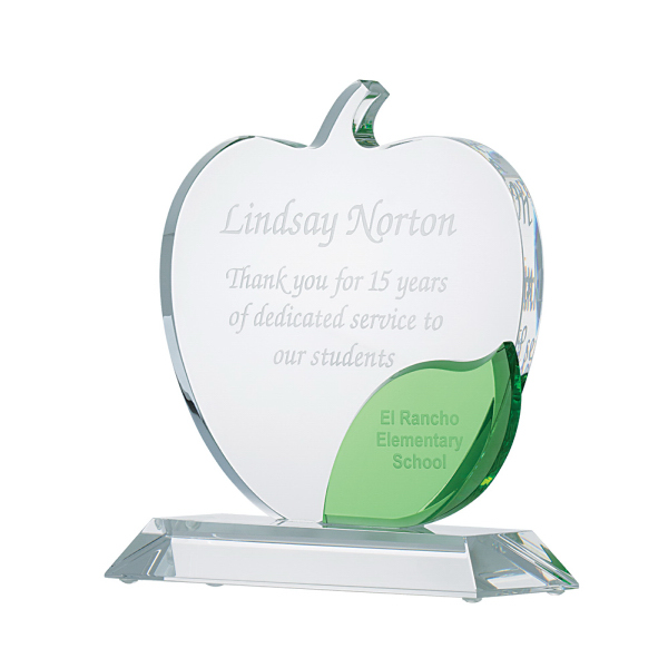 Imprinted Apple with green leaf crystal award