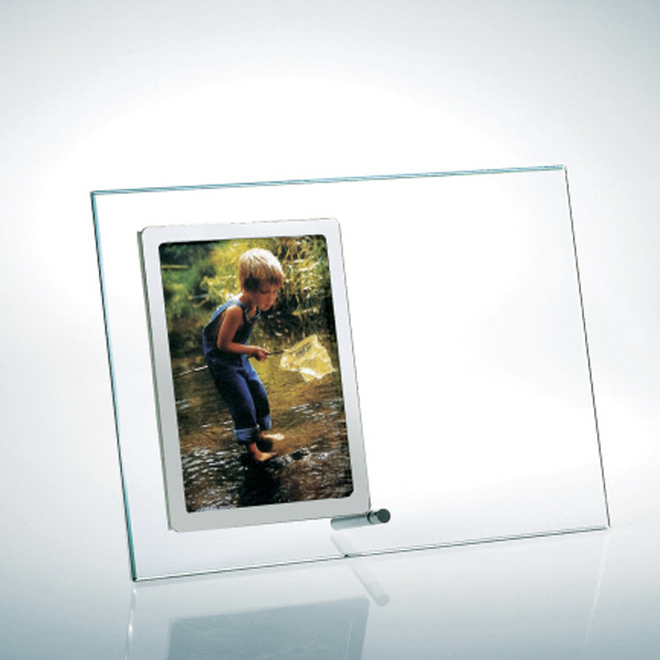 Promotional Starfire Clear Glass Vertical Stainless Photo Frame