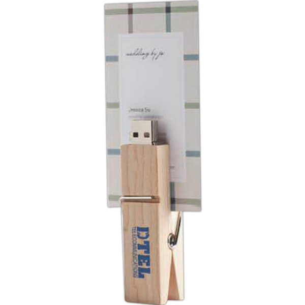 Printed Wood Clip USB Flash Drive