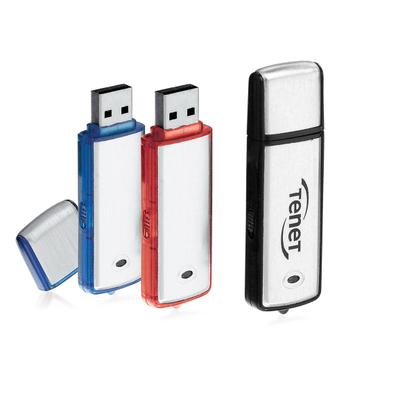 Custom USB Drive in Brushed Aluminum and Colored Plastic Case