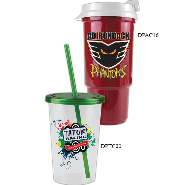 Promotional 20 oz Patriot Straw Tumbler