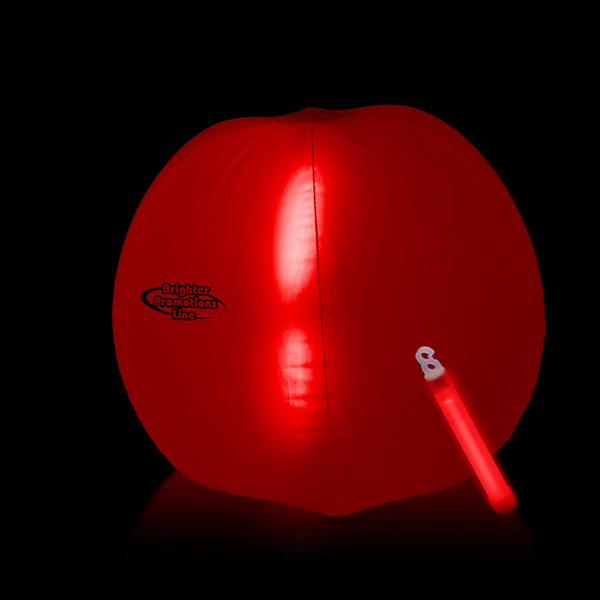 Customized Translucent Red Beach Ball with Glow Stick