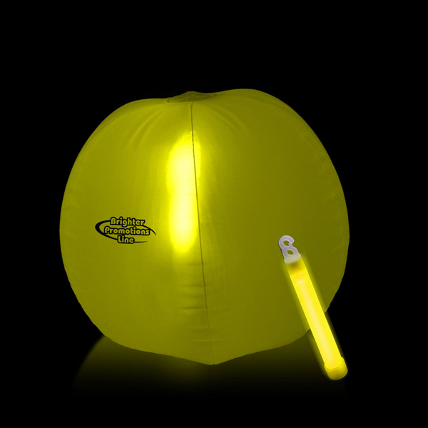 Personalized Translucent Yellow Beach Ball with Glow Stick
